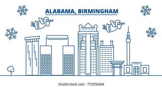 USA, Alabama, Birmingham winter city skyline. Merry Christmas and Happy New Year decorated banner. Winter greeting card with snow and Santa Claus. Flat, line vector. Linear christmas illustration