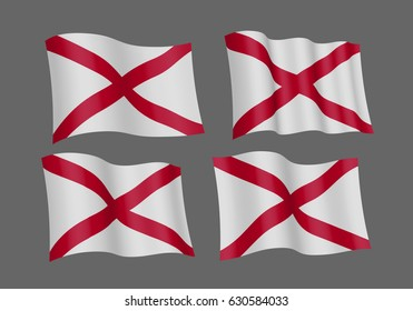 USA Alabama vector flags. A set of 5 wavy 3D flags created using gradient meshes. Design Element. Isolated on gray background.