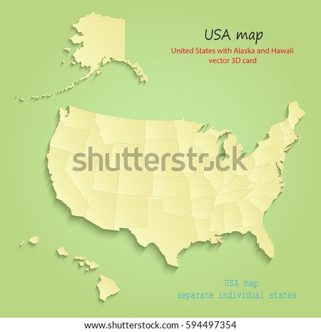United States Map With Alaska And Hawaii.Usa Alaska Hawaii Map Separate Individual Stock Vector Royalty Free