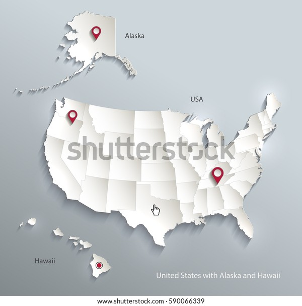 Usa Alaska Hawaii Map Separate Individual Stock Vector ...