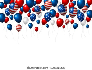 USA or America balloon design of American flag isolated on white background vector illustration independence day