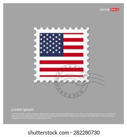 USA America Flag Postage Stamp on white background. Vector illustration.