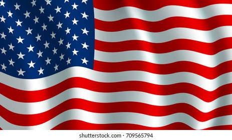 USA America flag. Vector US american united states country official national flag waving with curved fabric or waves texture of stars and red white horizontal color stripes