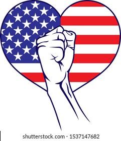 USA America heart fist flag