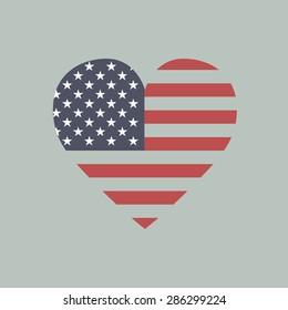 USA America heart flag. The vector heart with american flag colors and symbol.