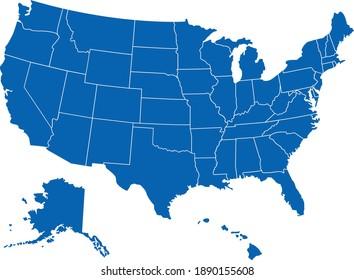 usa america Karte zeigt Rand Vektorgrafik einzeln auf Weiß