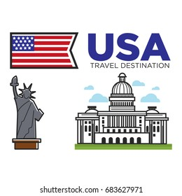 USA America travel landmarks and American culture famous symbos set