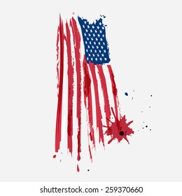 USA American flag grunge in water color style with a splash of color. Vector.