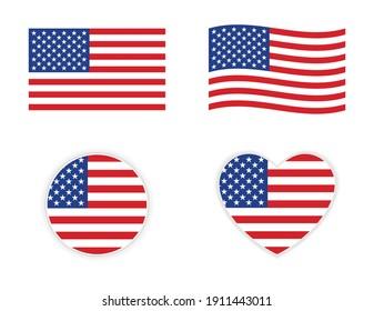 usa american flag icon wave circle and heart shape
