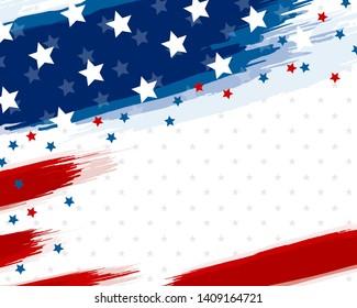 USA or american flag paintbrush banner on white background vector illustration