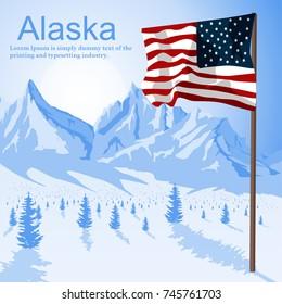 Usa American flag stars and stripes on mount Alaska background