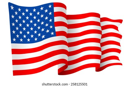 USA American flag waving - vector illustration isolated on white background.