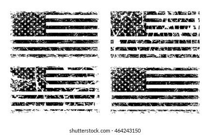 USA American grunge flag set, black isolated on white background, vector illustration.