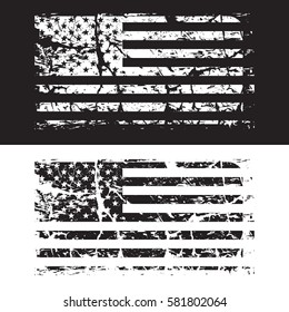 USA American grunge flag set, black and white, vector illustration.