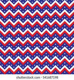 USA American United States flag colored seamless chevron pattern vector geometric design with stars and stripes
