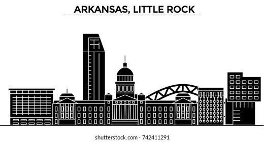 Usa, Arkansas, Little Rock architecture vector city skyline, travel cityscape with landmarks, buildings, isolated sights on background