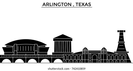 Usa, Arlington , Texas architecture vector city skyline, travel cityscape with landmarks, buildings, isolated sights on background