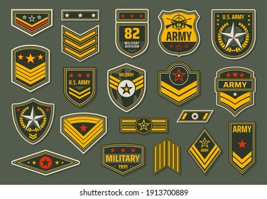 USA armed forces badges, military service staff ranks insignia. Army emblems, shoulder chevrons or epaulets with stars, rate stripes and service rifles on khaki background vector
