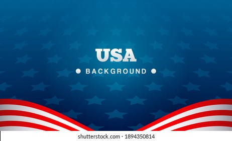 USA Background Vector illustration. Blue star pattern background with red and white stripes. copy space