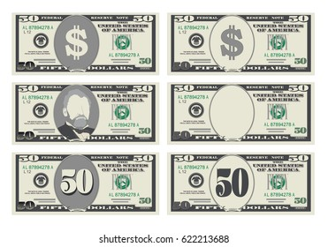 USA banking currency, cash symbol 50 dollars bill.
