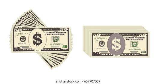USA banking currency, cash symbol 50 dollars bill. Banknotes fifty dollars. Vector  in flat style. Isolated on white. Suitable for advertising promotions, leaflet, coupon, flyer. Horizontal.