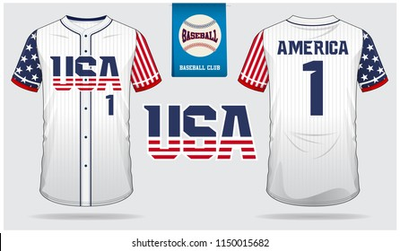 USA Baseball jersey, sport uniform, raglan t-shirt sport, short, sock template. Baseball t-shirt mock up. Front and back view baseball uniform. Flat baseball logo on blue label. Vector Illustration.