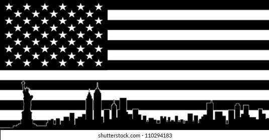 USA Black Flag New York City Vector Skyline