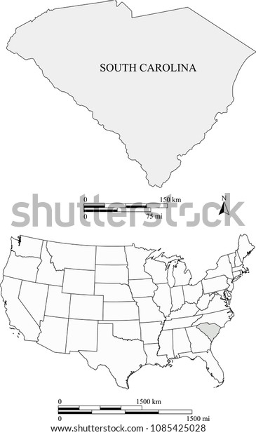 Usa Blank Map Vector Outlines Highlighted Stock Vector ...