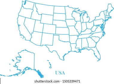 USA blue line map vector