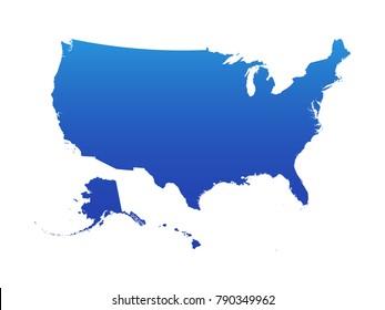USA Blue Map