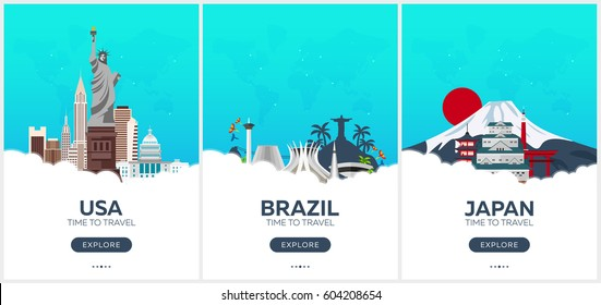 USA, Brazil, Japan. Time to travel. Set of Travel posters. Vector flat illustration