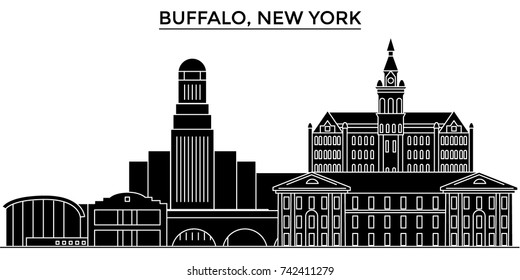 Usa, Buffalo, New York architecture vector city skyline, travel cityscape with landmarks, buildings, isolated sights on background