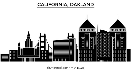 Usa, California Oakland architecture vector city skyline, travel cityscape with landmarks, buildings, isolated sights on background
