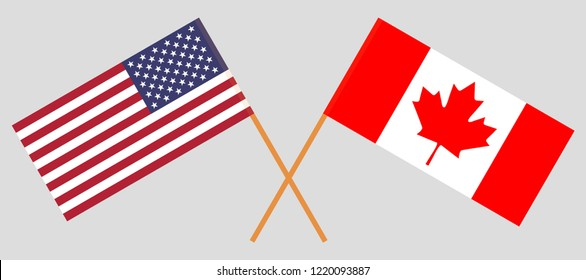 USA and Canada. American and Canadian flags. Official colors. Correct proportion. Vector illustration
