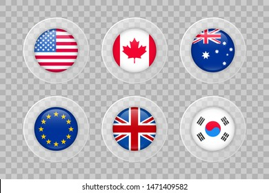 USA, Canada, Australia, European Union, United Kingdom, South Korea flag on transparent background. Isolated vector icon set for web, design, decoration, business, travel, infographic elements