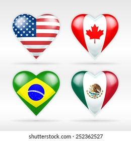 USA, Canada, Brazil and Mexico heart flag set of American states as collection of isolated vector state flags icon elements on white