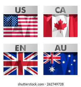 USA, Canada, Britain and Australia flags icons set in polygonal style.