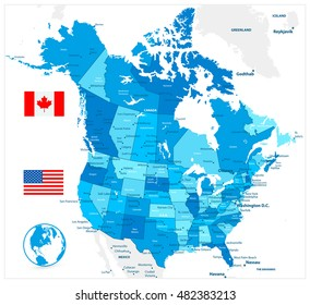 USA and Canada large detailed political map in colors of blue