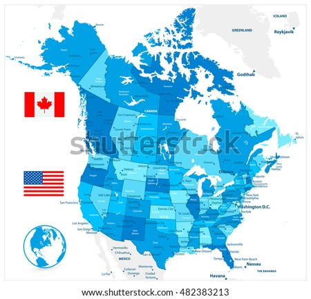 Political Map Of Canada And Usa.Usa Canada Large Detailed Political Map Stock Vector Royalty Free