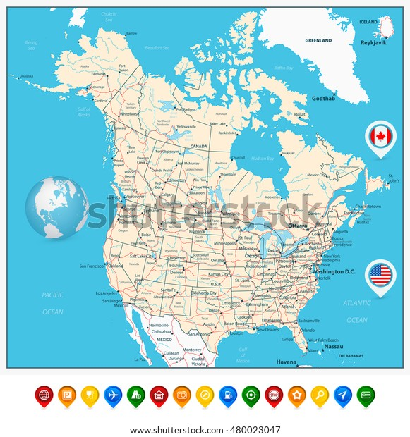 Usa Canada Large Detailed Political Map Stock Vector ...