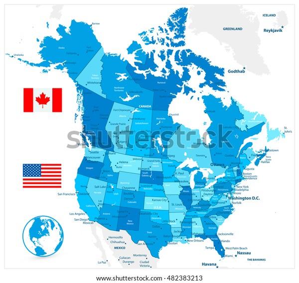 Usa Og Canada Store Detaljerede Politiske Lagervektor Royaltyfri
