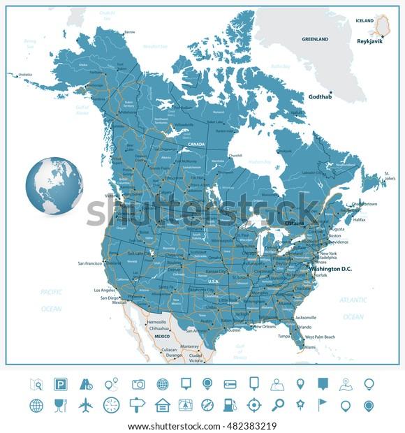 Usa Canada Road Map Navigation Icons Stock Vector Royalty