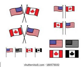 USA and Canadian Flags in various layouts.