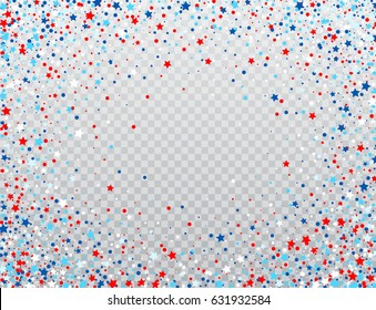 USA celebration confetti stars in national colors for American independence day isolated on background. Vector illustration EPS10