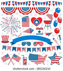 USA celebration flat national symbols set for independence day isolated on white background