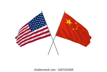 USA and China crossed flags waving in the wind as sign of cooperation or sport competition or diplomatic meeting event. Vector illustration.
