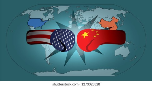 USA and China flag on boxing glove trading punches over the world map for the concept: Trade War. Vector illustration.