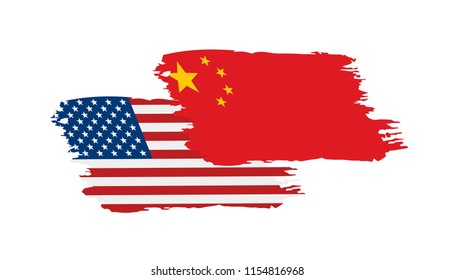 usa and China flags. Vector illustration on white background