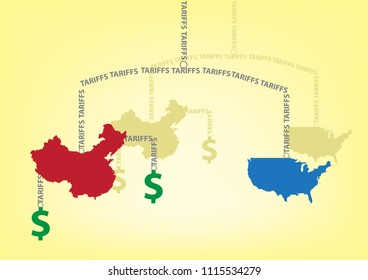 USA and China in a Hanging Balance Art Installation Tariff concept. Editable Clip Art.