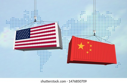 USA and China import export trade war concept. Cargo containers collision as USA and China business finance economic trade tension conflict and  trade deficit symbol. Vector illustration.